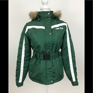 New York Jets NFL Green Puffer Jacket Hooded Med